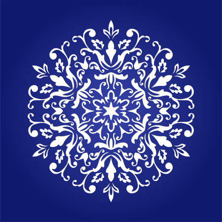 Die cut papieren kaart met uitsnede mandala ornament. Kan worden gebruikt voor het lasersnijden of snijmachines. Laser gesneden mandala patroon. Stencil mandala. Stock Illustratie