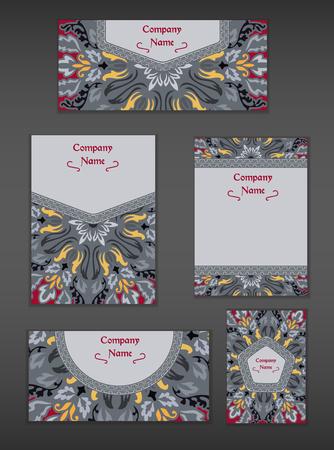 Tarjetas de la vendimia con el patrón y adornos mandala floral. Ilustración de vector