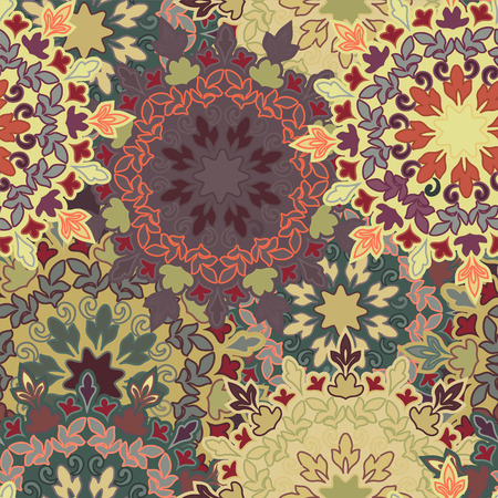 ottoman fabric: Seamless round ornament pattern for printing on fabric or paper. Hand drawn background. Islam, Arabic, Indian, Mexican ottoman motifs. Seamless round ornament pattern. Floral mandala pattern Illustration