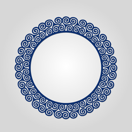 used ornament: Abstract circle frame with swirls, vector ornament, vintage frame. May be used for lasercutting. Laser cut vector frame. Lazercut frame.