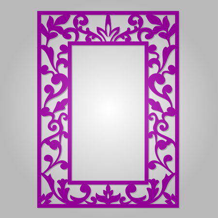 Vector ornamental cutout panel for laser cutting. Filigree cutout frame. Wood carving for photo frame. Stencil or kirigami frame. Laser cut vector design. Ilustração