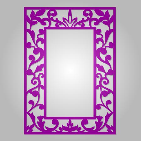 kirigami: Vector ornamental cutout panel for laser cutting. Filigree cutout frame. Wood carving for photo frame. Stencil or kirigami frame. Laser cut vector design. Illustration
