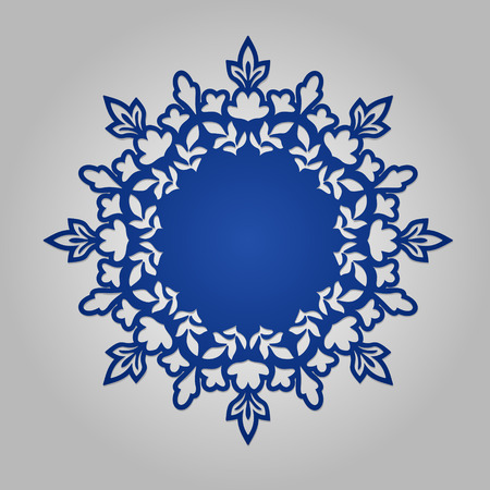 kirigami: Doily. Mandala. Round Ornament Pattern. Geometric circle element made in vector. Circular pattern in arabesque style. My be used for laser cutting or die cutting machines Illustration