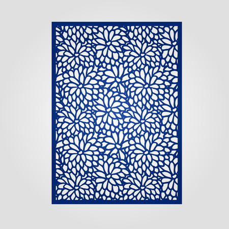 die cut: Abstract cutout panel for laser cutting, die cutting or stencil. Vector filigree pattern for wedding invitation card.