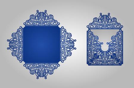 正方形のレーザー カット、招待状のテンプレートです。素材や金型の切削のためのカード。Lazercut 結婚式の招待状。レーザー カットのベクトル レースのひだ。カット カード結婚式招待状のテンプレートは死にます。 写真素材 - 58067047