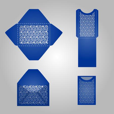 正方形のレーザー カット、招待状のテンプレートです。素材や金型の切削のためのカード。Lazercut 結婚式の招待状。レーザー カットのベクトル レ