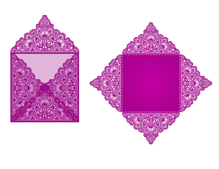 Square laser cut invitation template. Card for lasercutting or die cutting. Lazercut wedding invitation card. Lazer cut vector lace folds. Die cut card wedding invitation template.