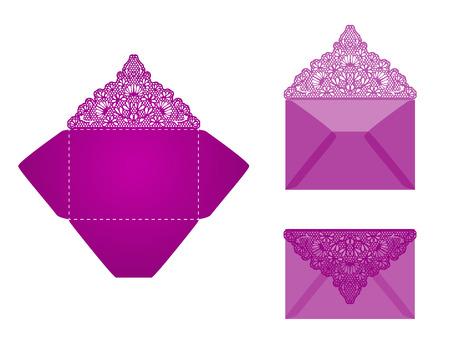 Vierkant lasergesneden uitnodigingssjabloon. Kaart voor lasersnijden of stansen. Lazercut bruiloft uitnodiging kaart. Lazer gesneden vector kant plooien. Die cut card trouwkaart template.