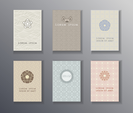 Set of Brochures, Posters and Cards with japanese, islamic, indian, chinese style ornaments, Geometric and floral monogram shapes in retro style.