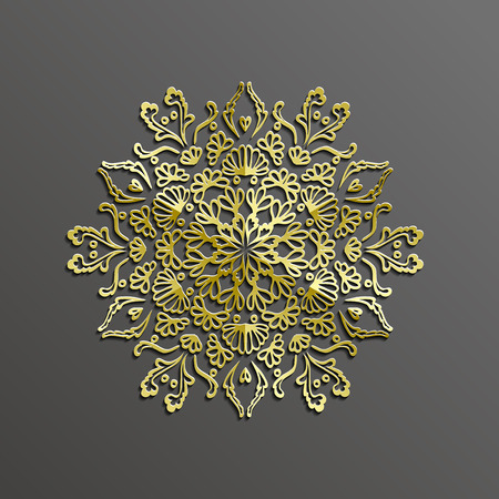 circle pattern: Islamic 3d gold on dark mandala round ornament background architectural muslim texture. 3d template for islamic design.Can be used for brochures invitations in islamic style,persian motif Illustration