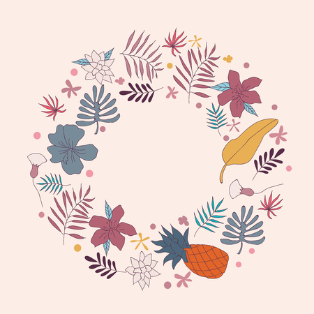 pistil: Wreath vector illustration made of flowers and herbs. Vector decorative circle frame. Spring elements. Floral doodles wreath. Invitation or greeting card design.