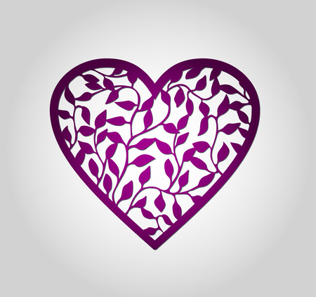 Laser cut heart label. Die cut heart shapes with swirl. Swirly heart shapes for Valentine's Day. Red heart for Valentine paper card. Paper heart with swirls. Floral heart. Heart decoration.