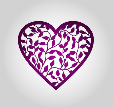 Laser gesneden hart label. Die cut hart vormen met wervel. Swirly hart vormen voor Valentijnsdag. Rood hart voor Valentijn papieren kaart. Hart van het document met wervelingen. Bloemen hart. Hart decoratie. Stock Illustratie