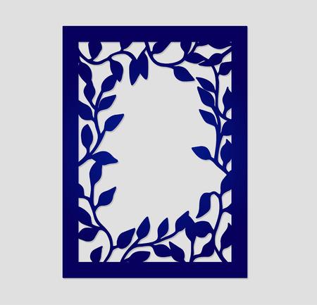 corte laser: Marco abstracto del vector con ramas de árboles. Puede ser utilizado para el corte por láser. Tarjeta del árbol de la boda Lazercut. El laser cortó plantilla de la invitación. Cut-out ramas de los árboles silueta. Marco de la invitación de la boda.