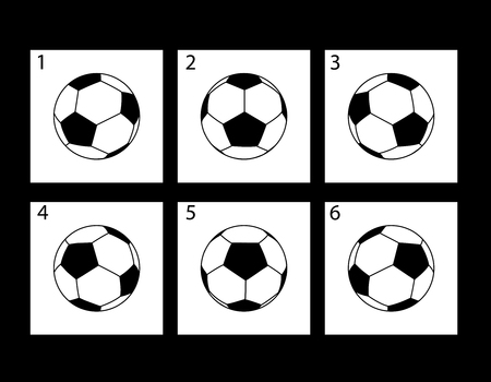 storyboard: Animation of rotation of a soccer ball. Storyboard animation. Illustration