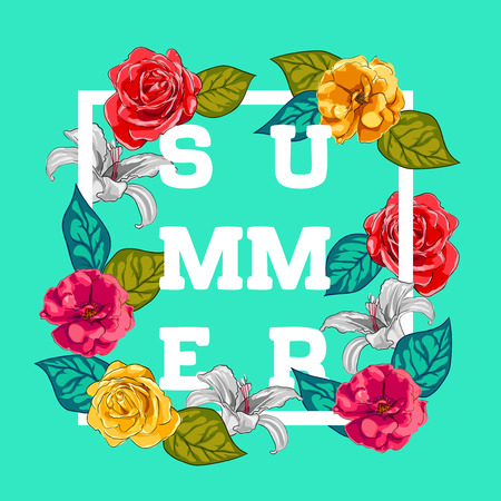 Summer Typographical Background With Flowers. Illustration