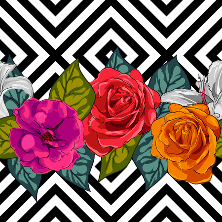 Design seamless background for fabrics, floral ornament. Hand painted illustration on geometric background Иллюстрация