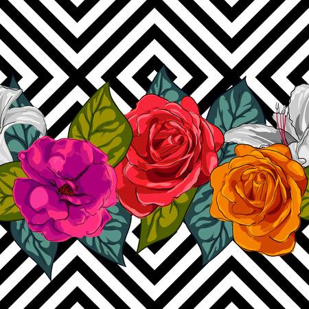Ontwerp naadloze achtergrond voor stoffen, bloemenornament. Handgeschilderde illustratie op geometrische achtergrond Stock Illustratie