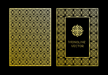 Vector set of design elements, labels and frames for packaging for luxury products in trendy linear style - simple and bright background made with golden foil on black background Иллюстрация