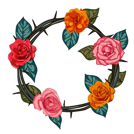 thorns and roses: Thorns and roses engraving emblem. Rose hip wreath Illustration