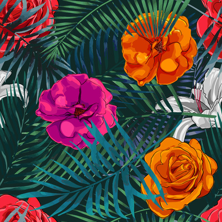 allover: Beautiful seamless vector floral pattern background. Tropical flowers, palm leaves, jungle leaves, plants, exotic print Illustration