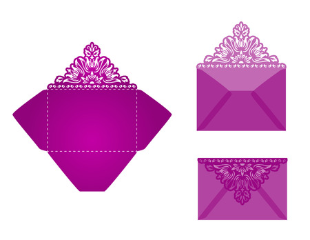 lazer: Square laser cut invitation template. Card for lasercutting or die cutting. Lazercut wedding invitation card. Lazer cut vector lace folds. Die cut card wedding invitation template.