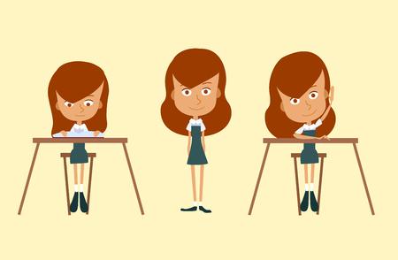 school desk: Set of school girl. A child at a school desk Illustration