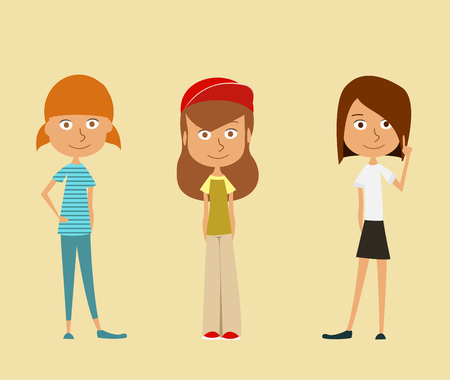 young schoolchild: Set of three cute girl. illustration. Illustration