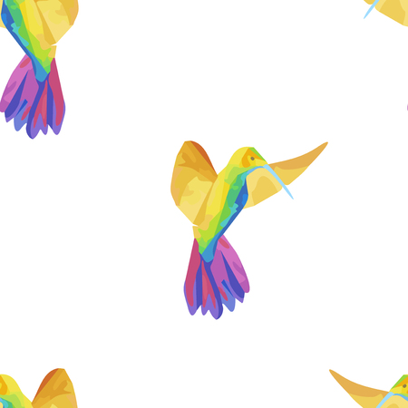 tropical birds: Seamless pattern with colibri. Colored fantasy tropical birds. Vector illustration. Illustration