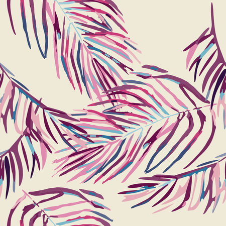 Seamless colorful tropical leaves only pattern with diverse exotic plants Illustration