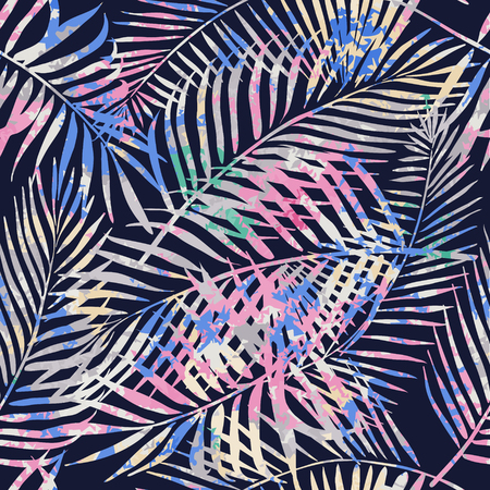 Seamless tropical pattern. Beautiful exotic abstract allover design. Palm leaves of different shapes on dark background, for fashion, interior, stationery, web.