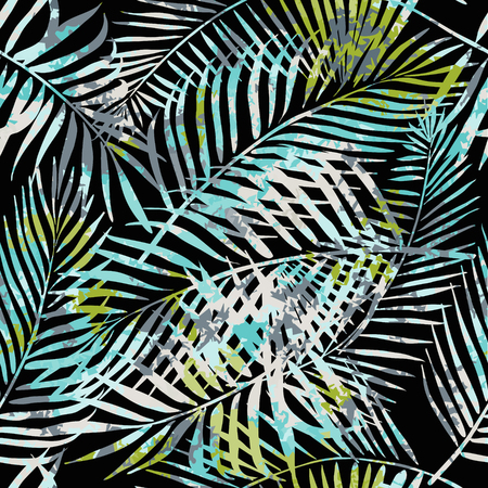 allover: Seamless tropical pattern. Beautiful exotic abstract allover design. Palm leaves of different shapes on dark background, for fashion, interior, stationery, web.
