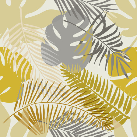Tropical exotic flowers and plants with green leaves of palm. Seamless pattern. Fashion vintage summer wallpaper.