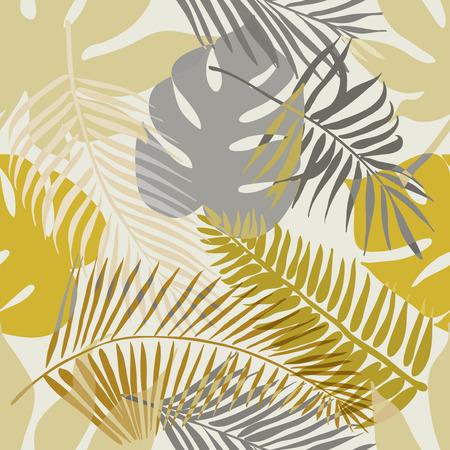 Tropische exotische bloemen en planten met groene bladeren van de palm. Naadloos patroon. Fashion vintage zomer behang.
