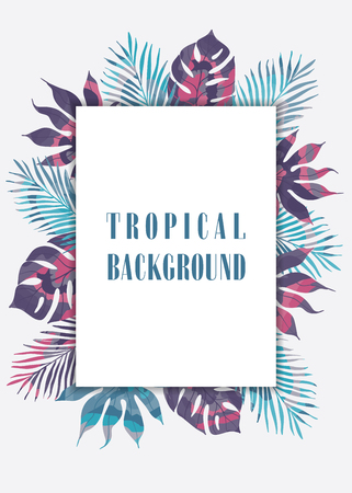 autum: Summer tropical hawaiian background with palm tree leavs.