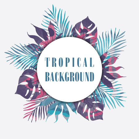 Summer tropical hawaiian background with palm tree leavs.