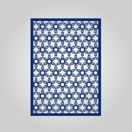 die: Abstract cutout panel for laser cutting, die cutting or stencil. Vector filigree pattern for wedding invitation card.