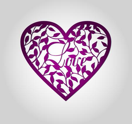 corte laser: El laser cortó la etiqueta del corazón. Die corazón formas cortadas con forma de remolino. swirly corazón forma para el Día de San Valentín. Corazón rojo de la tarjeta de papel de San Valentín. Corazón de papel con remolinos. corazón floral. la decoración del corazón. Vectores
