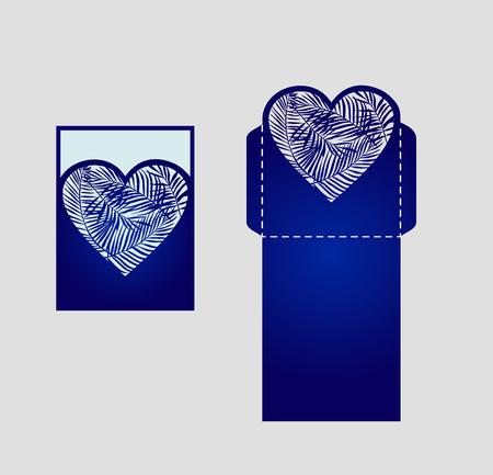 Digitale vector-bestand voor lasersnijden. Laser gesneden swirly sierlijke bruiloft uitnodiging envelop. Knipsel pocket envelop template design. Bruiloft uitnodiging envelop voor het snijden van machine of lasersnijden.