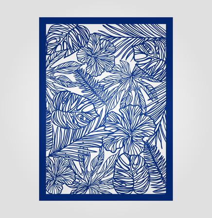 Zusammenfassung Ausschnitt Panel zum Laserschneiden, Stanzen oder Schablone. Vector filigrane Muster für Hochzeitseinladungskarte. Standard-Bild - 62381295