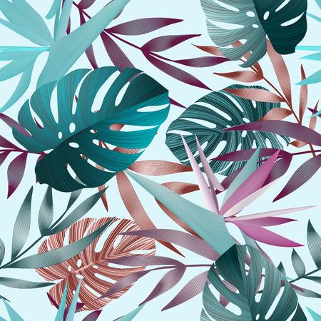 熱帯の花、ジャングルの葉、極楽鳥花。美しいシームレス花柄背景、エキゾチックなプリント  イラスト・ベクター素材