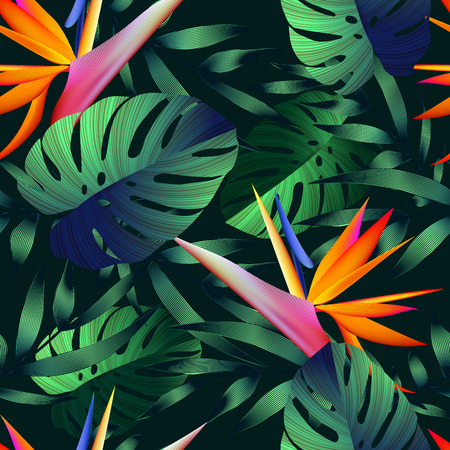 bird of paradise: Tropical flowers, jungle leaves, bird of paradise flower. Beautiful seamless vector floral pattern background, exotic print