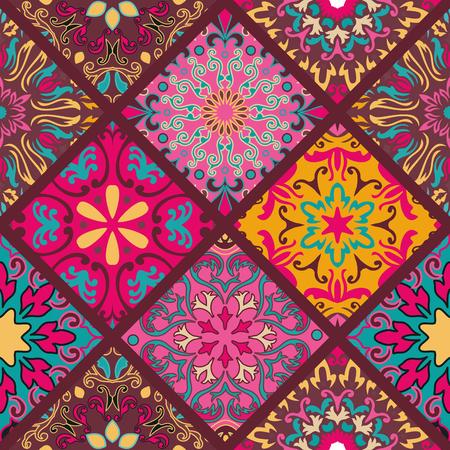 Naadloos ronde ornament patroon voor het printen op stof of papier. Hand getrokken achtergrond. Islam, Arabisch, Indiaas, Ottomaanse motieven. Naadloos round ornament patroon. Bloemen mandalapatroon Stock Illustratie