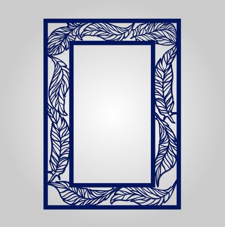 wood carving: Vector floral ornamental cutout panel for laser cutting. Filigree cutout frame. Wood carving for photo frame. May be used for laser cutting. Lazercut wedding tree card. Laser cut invitation template. Wedding invitation frame.