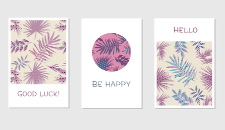 valentin's: Set of creative universal floral cards in tropical style. Hand Drawn textures. Wedding, anniversary, birthday, Valentins day, party invitations. Vector. Isolated.