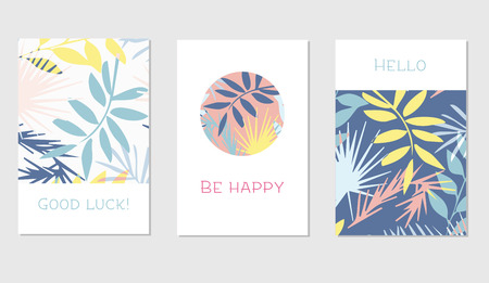 Set of creative universal floral cards in tropical style. Hand Drawn textures. Wedding, anniversary, birthday, Valentins day, party invitations. Vector. Isolated.
