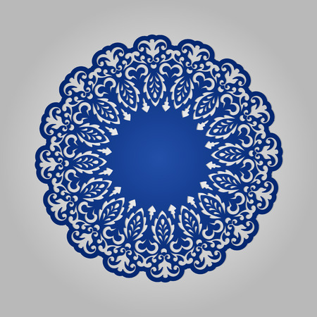 kirigami: Doily. Mandala. Round Ornament. Geometric circle element made in vector. Circular pattern in arabesque style. My be used for laser cutting.