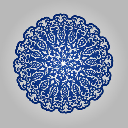 cutouts: Die cut paper card with cutout mandala ornament. May be used for laser cutting or cutting machines. Laser cut vector mandala pattern. Stencil mandala.