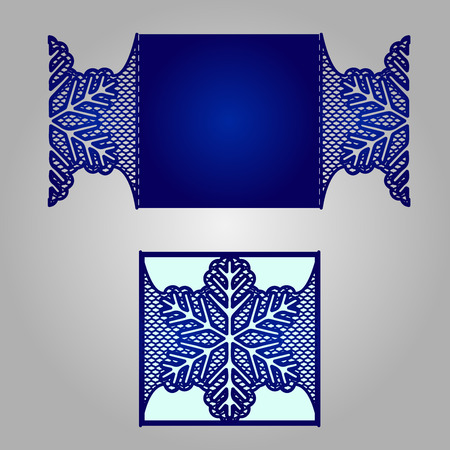 kirigami: Laser cut wedding invitation template. May be used for cutting machines. Cutout paper wedding invitation card with ornamental panels. Illustration