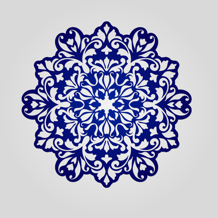 kirigami: Doily. Mandala. Round Ornament Pattern. Geometric circle element . Circular pattern in arabesque style. My be used for laser cutting or die cutting machines Illustration